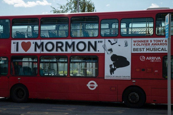 The Book of Mormon on London red bus