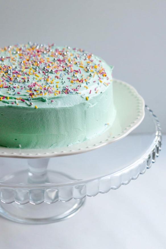 Green Pastel Birthday Cake with sprinkles