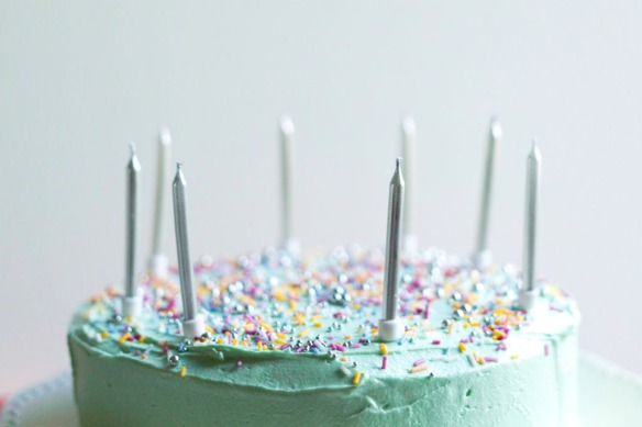 Pastel Birthday Cake with sprinkles