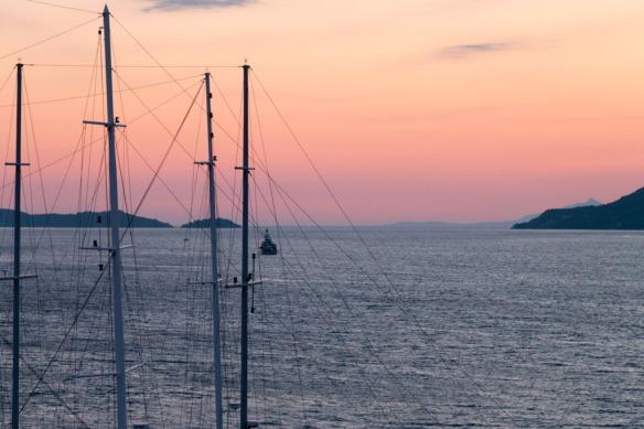Sunset over Korcula Old Town. Sail Croatia, MedSailors